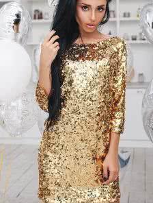 Короткое золотичтое платье для встречи Нового года