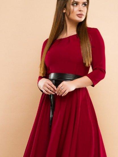 Вечернее платье бордового цвета на длинный рукав, фото 1