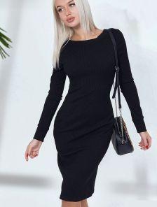 Черное трикотажное платье-футляр с длинным рукавом