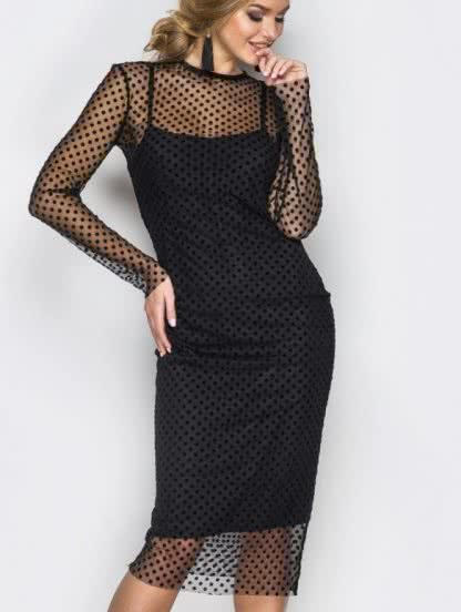 Черное короткое нарядное платье с сеткой в горох, фото 1