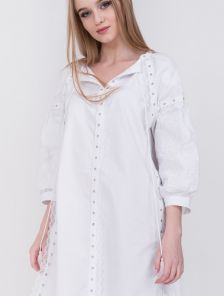 Белая длинная хлопковая рубашка платье
