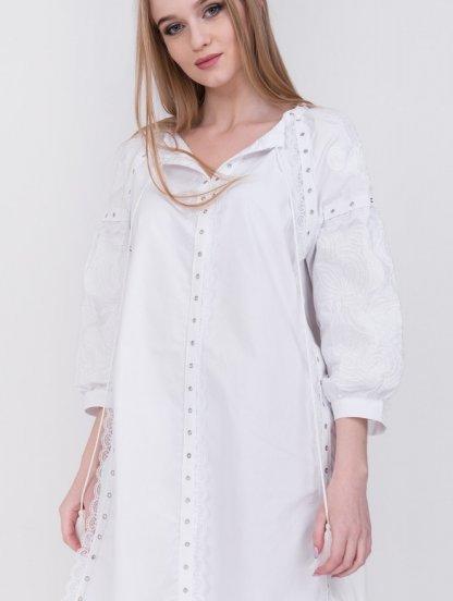 Белая длинная хлопковая рубашка платье, фото 1