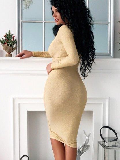 Облегающее золотое люрексовое платье с длинным рукавом, фото 1
