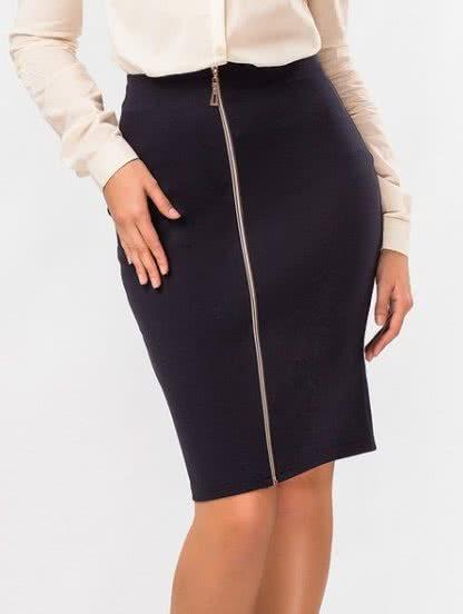 Черная трикотажная юбка миди на молнии с высокой посадкой, фото 1