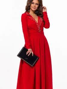 Длинное красное вечернее платье на длинный рукав