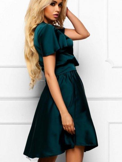 Зеленое платье с имитацией запаха из шелка Армани, фото 1