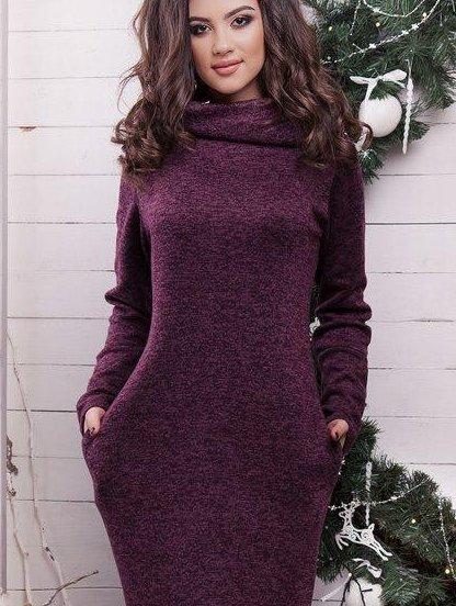 Теплое платье бордового цвета для беременных, фото 1