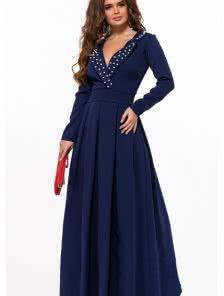 Длинное синее вечернее платье на длинный рукав