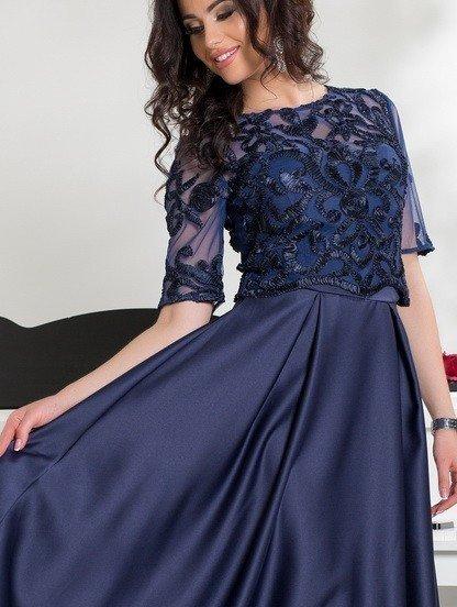 Вечернее платье в ресторан с кружевными рукавами, фото 1