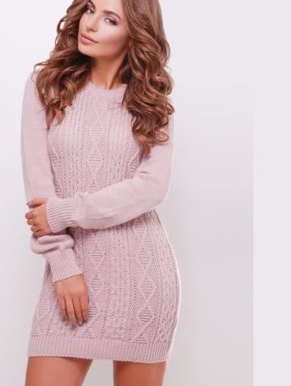 Пудровое короткое теплое платье на длинный рукав, фото 1