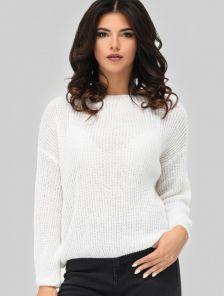 Белый свитер с оригинальным рукавом