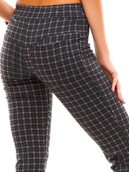 Синие зауженные брюки в мелкую клетку с карманами, фото 1