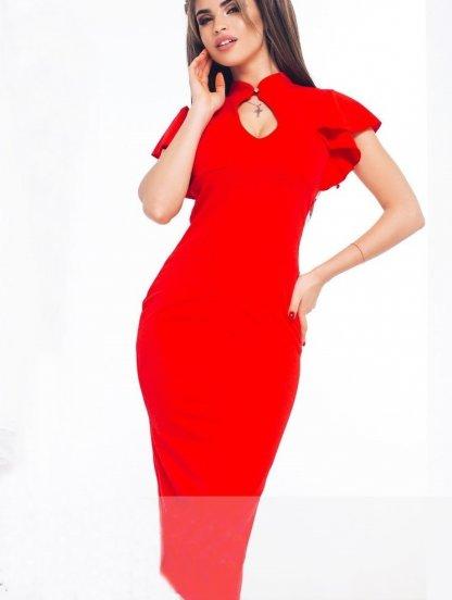 Сексуальное красное платье миди с вырезом капелькой, фото 1