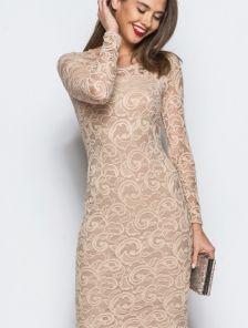 Силуэтное платье-миди из нежного кружева с рукавом