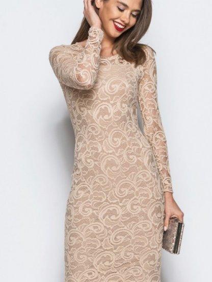 Силуэтное платье-миди из нежного кружева с рукавом, фото 1