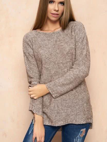 Шерстяной свитер с удлиненной спинкой, фото 1