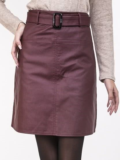 Бордовая юбка -трапеция с высокой талией, фото 1