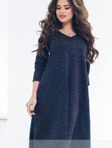 Свободное теплое ангоровое платье-трапеция