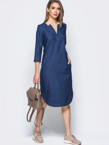 Джинсовое платье с V-образным вырезом, фото 1