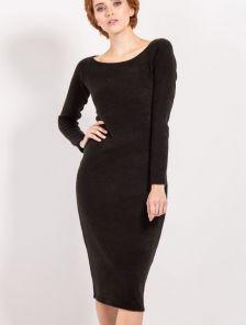 Черное теплое платье футляр с длинным рукавом