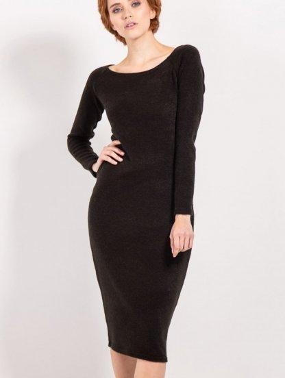 Черное теплое платье футляр с длинным рукавом, фото 1