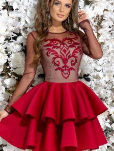 Нарядное короткое платье с сеткой и с пышной юбкой