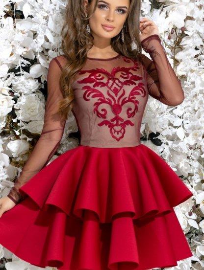 Красное коктейльное платье с прозрачными рукавами, фото 1