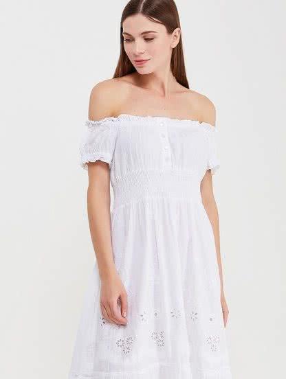 Хлопковое белоснежное платье с приспущенными плечами, фото 1
