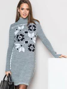 Платье-гольф миди длинны в сером цвете