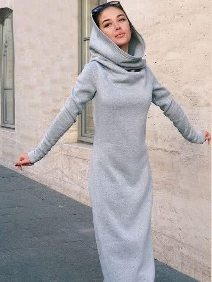 Длинное флисовое платье на меху, фото 1