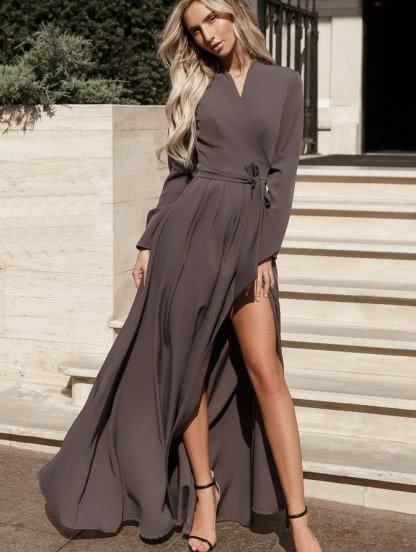 Длинное платье с запахом на длиннный рукав, фото 1