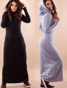 Длинное флисовое платье на меху