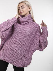Розовый теплый свитер оверсайз с широкой горловиной