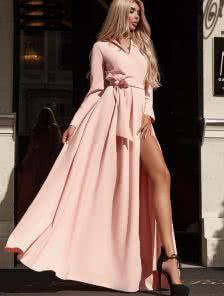 Длинное розовое платье на запах