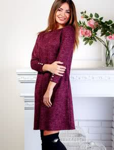 Теплое ангоровое бордовое платье с пуговицами на рукавах и карманах