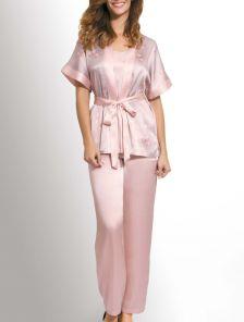 Шёлковый комплект брюки и блуза в сером цвете