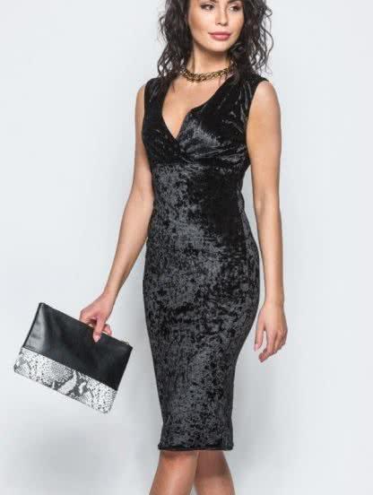 Черное велюровое платье длины миди, фото 1