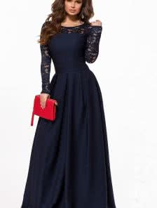 Длинное синее платье c кружевным рукавом