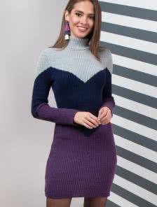 Повседневное облегающее платье-гольф с добавлением шерсти