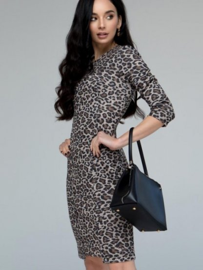 Леопардовое платье-футляр в офисном стиле с рукавом, фото 1