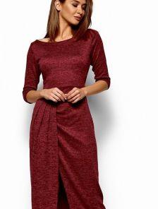 Длинное бордовое платье с разрезом