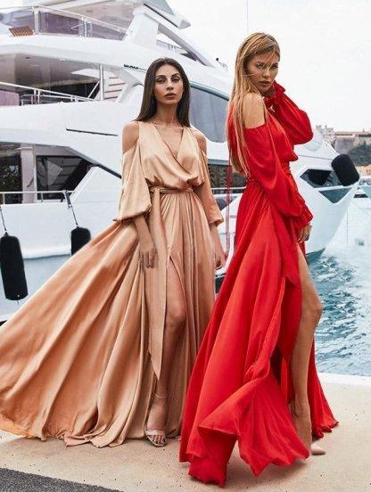 Длинное красное атласное платье, фото 1