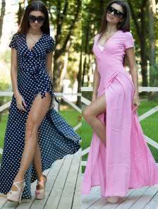 Строгое платье тёмно-синего цвета в горошек