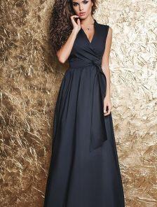 Длинное черное платье на запах А силуета