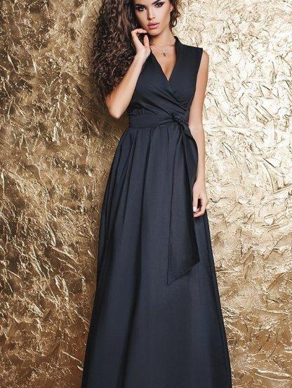 Длинное черное платье на запах А силуета, фото 1