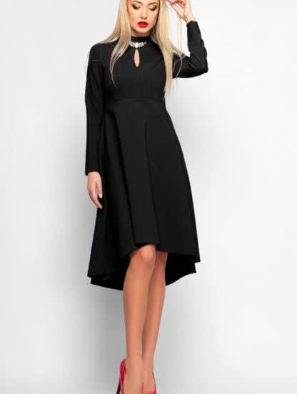 Черное платье маллет с вырезом, фото 1
