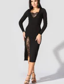 Черное облегающее платье с кружевными вставками