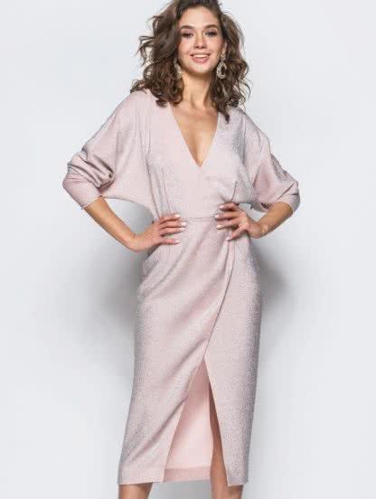 """Вечернее платье из """"сахарного"""" люрекса цвета пудры, фото 1"""