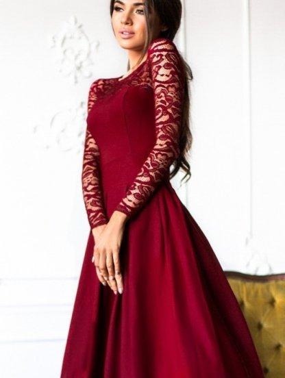 Вечернее длинное платье c кружевным рукавом в бордовом цвете, фото 1