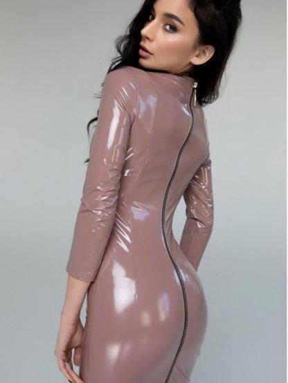 Сексуальное виниловое платье с молнией на спине, фото 1